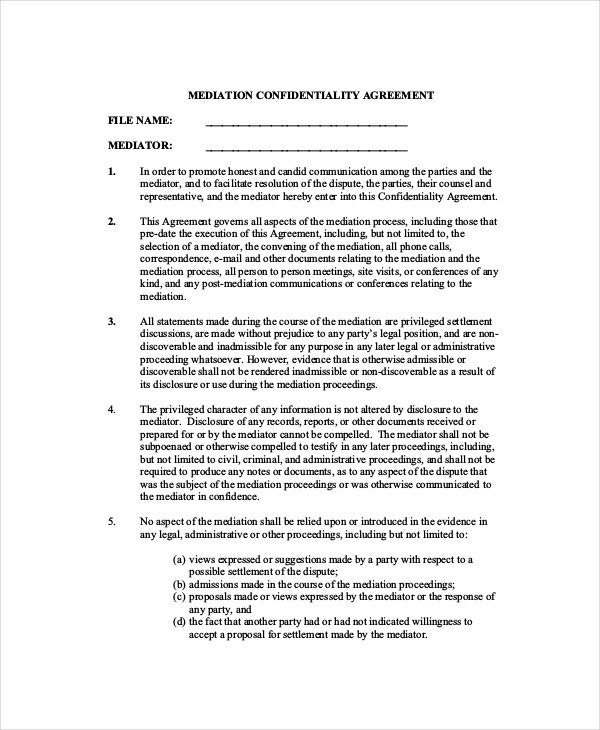 Mediation Confidentiality Agreement – 7 Free Word PDF
