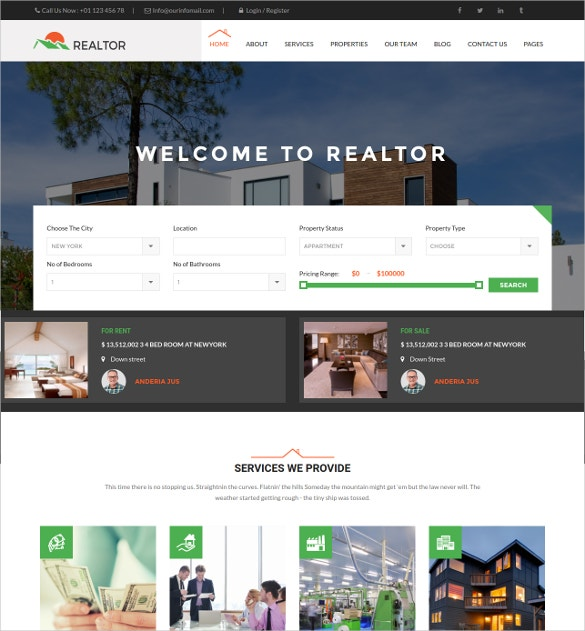 Responsive Realtor WordPress Website Theme $49