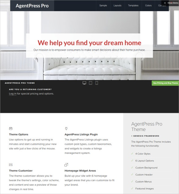 Business Realtor WordPress Website Theme $99