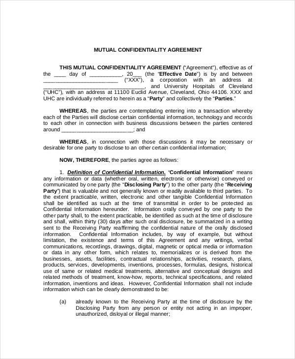 mutual medical confidentiality agreement