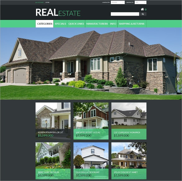 Realtor ZenCart Website Template $139