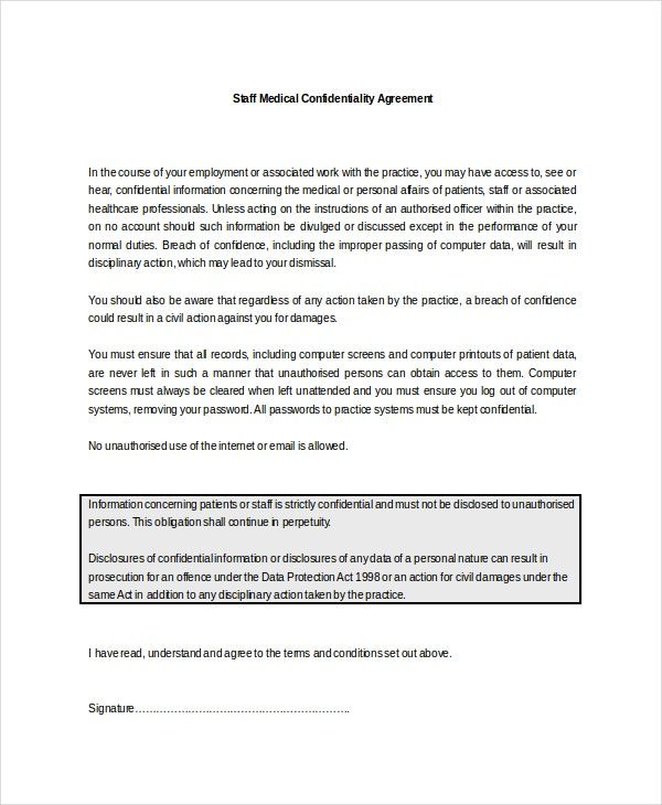 staff medical confidentiality agreement