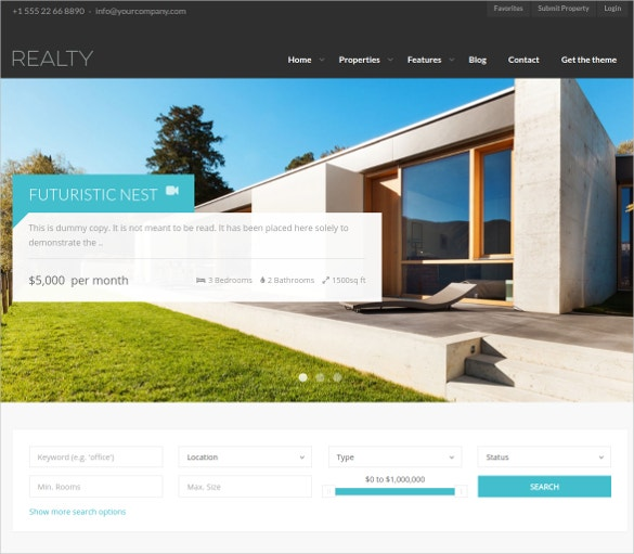 fully responsive realtor wordpress website theme