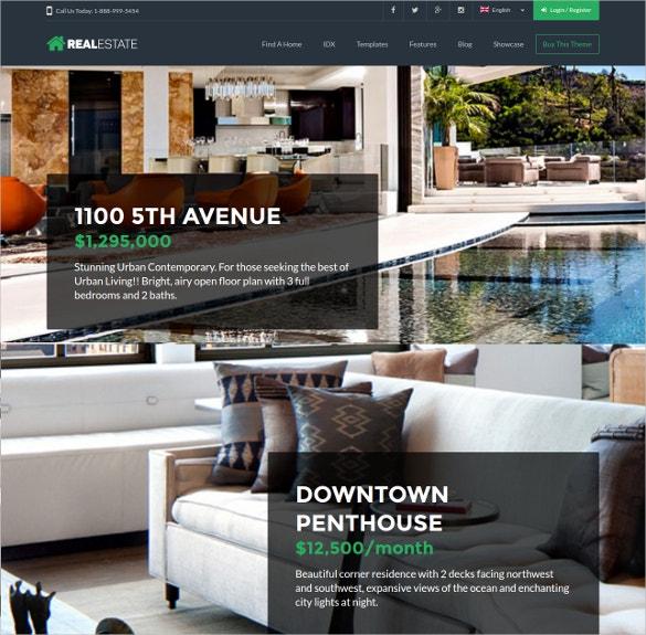 Corporate Responsive Realtor WordPress Website Theme $59