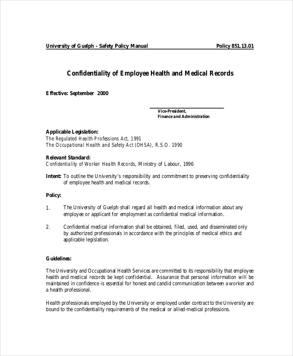 Employee Health Medical Confidentiality Agreement