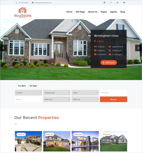 Creative Realtor WordPress Website Theme $39