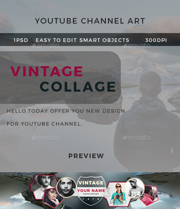 creative vintage collage youtube banner