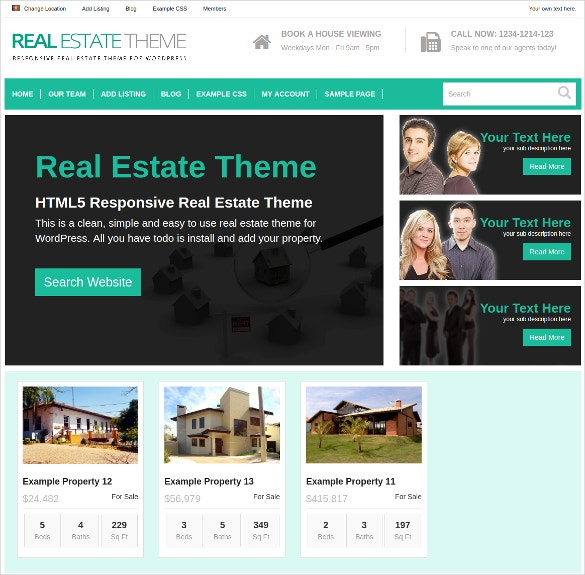 Realtor Portfolio WordPress Website Theme $79