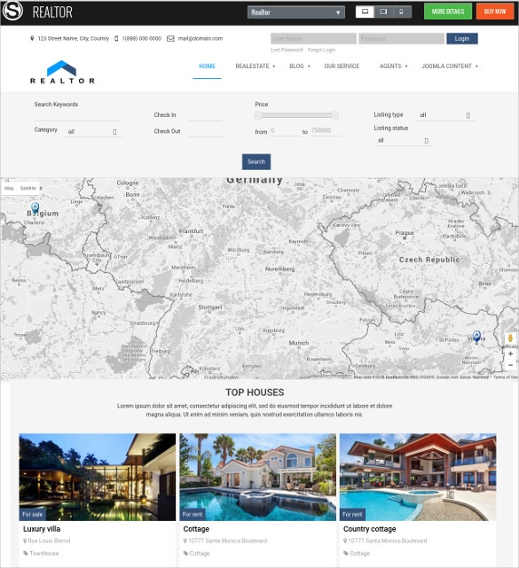 Premium Realtor Joomla Website Theme