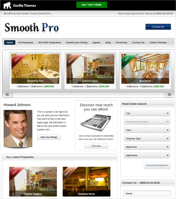 WordPress Professional Realtor Website Theme $49
