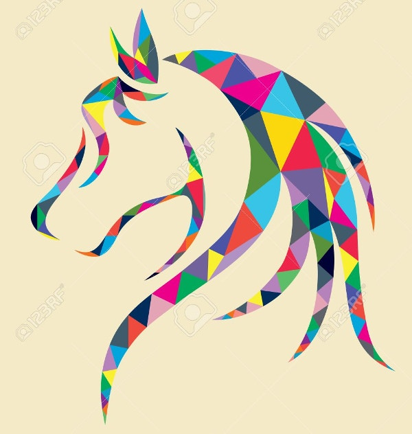 Horse Head Geometric Art Design