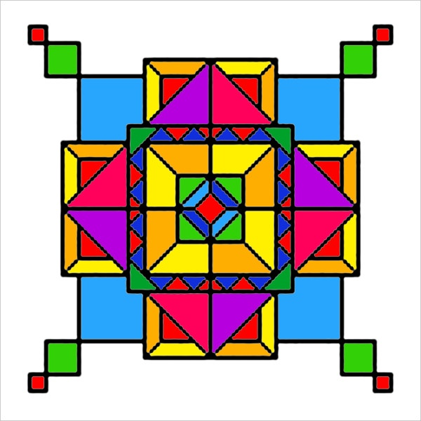 Geometric Colorful Boxes Design Art