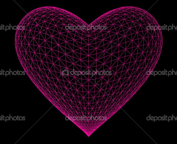 Background 3D Geometric Heart Art Design