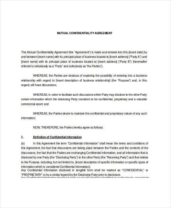 Mutual Confidentiality Agreement   Free Word Pdf Documents