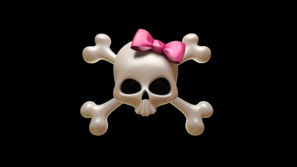 Girly Skull Ribbon Background for Windows