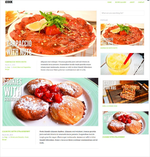 Favorite Recipe WordPress Theme $44