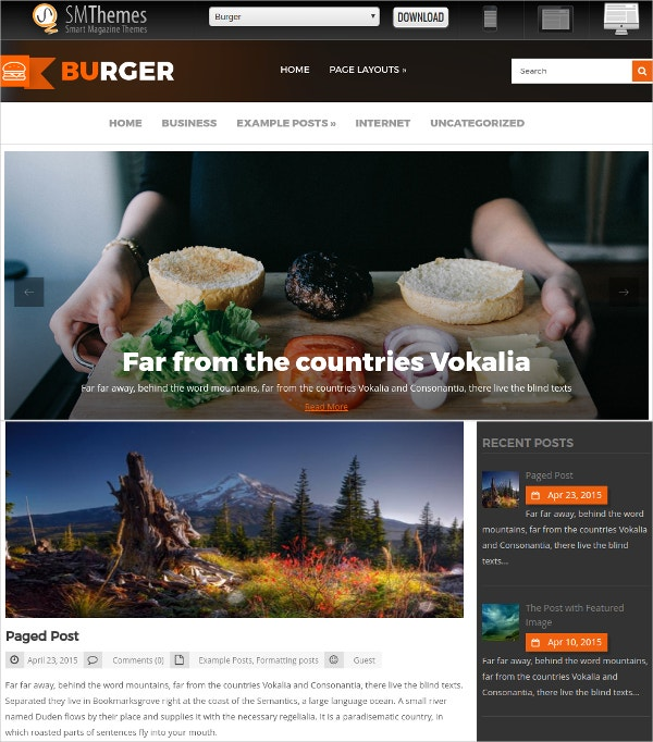Free Food Lovers WordPress Theme