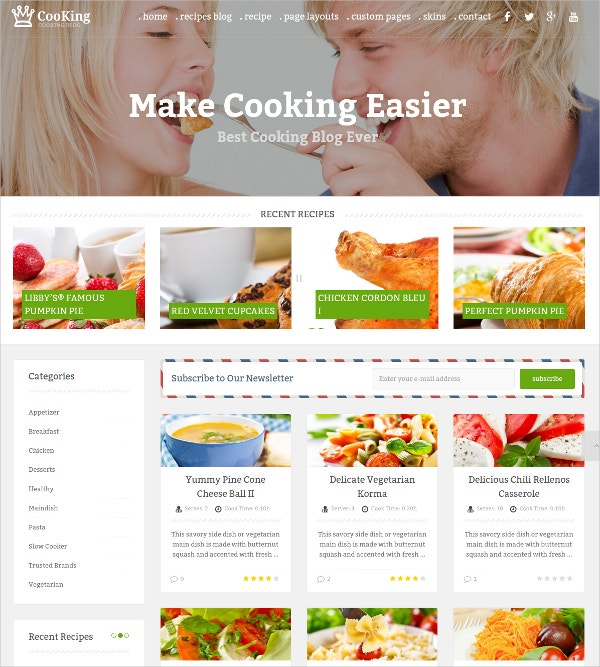 WordPress Cooking Blog & Food Theme $39