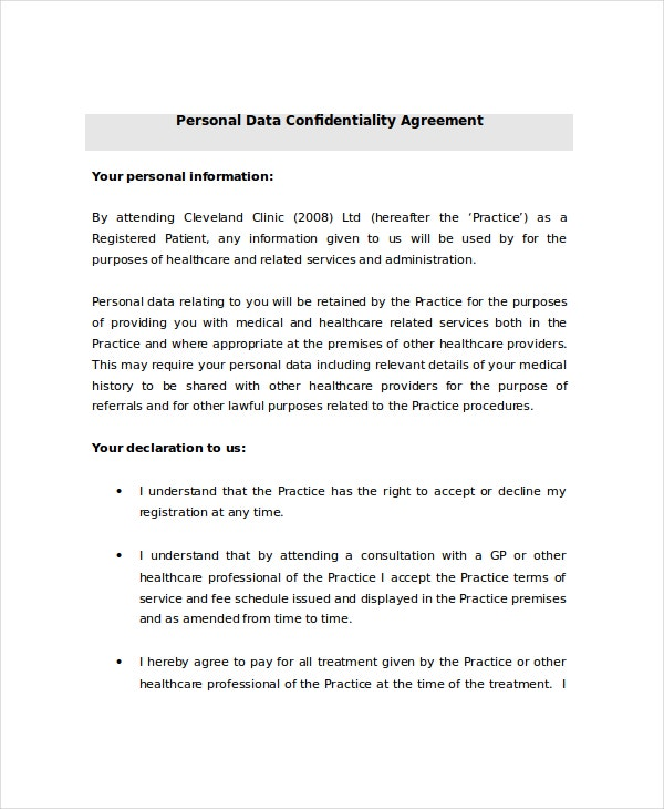 Charming Personal Data Confidentiality Agreement