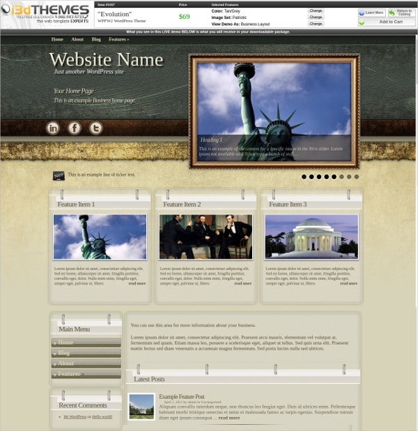 Premium Responsive Patriotic WordPress Theme $69