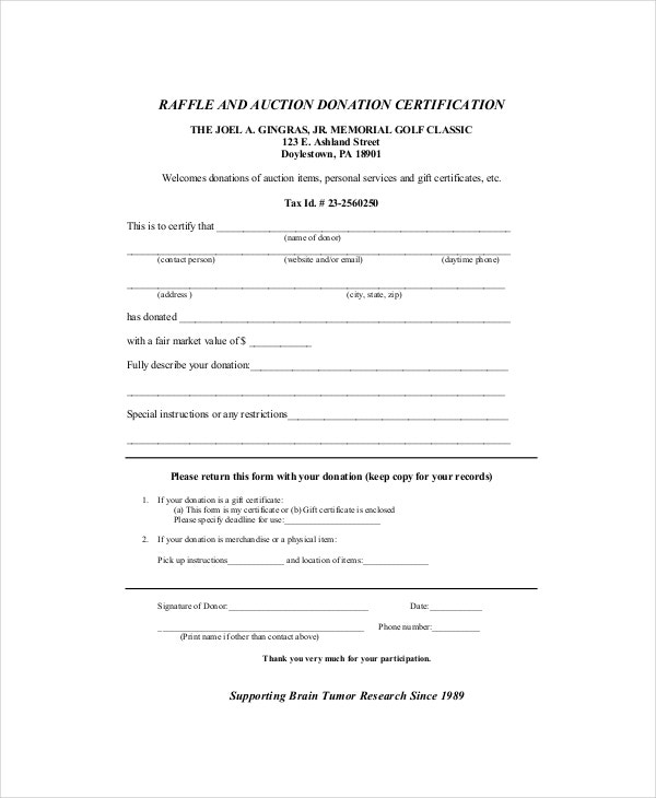 Auction Donation Certificate Template