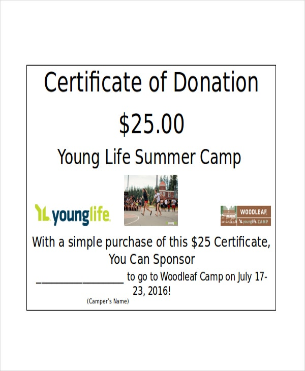 Woodleaf Camp donation certificate template