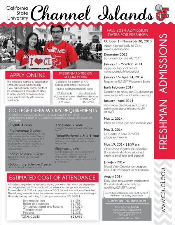 freshmen transfer recruitment flyer