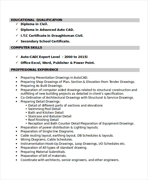 autocad resume template 8 free word pdf document downloads