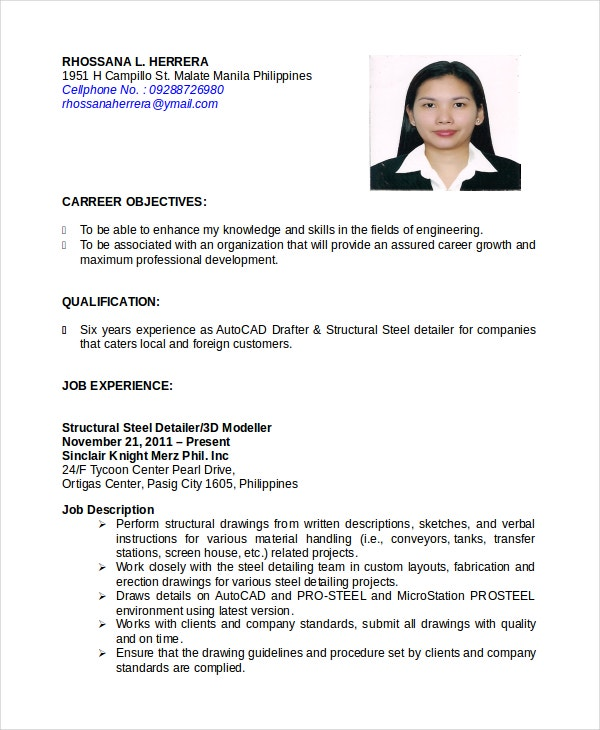 Autocad Operator Resume  Cover Letter For Resume Format