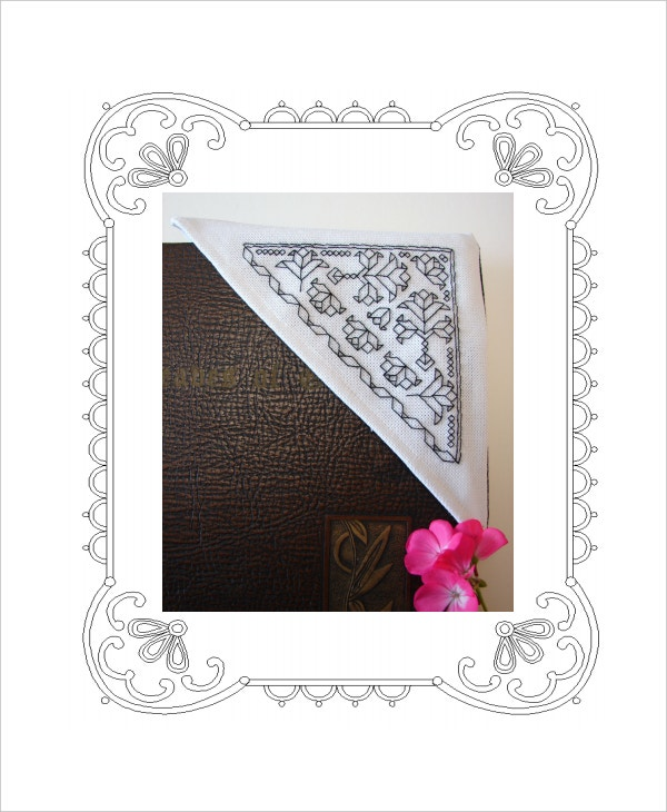 free linen flowers corner bookmark template