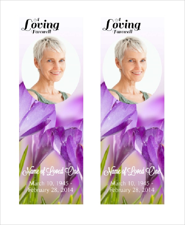 lovingly obituary bookmark template