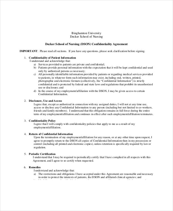 medical understanding confidentiality agreement