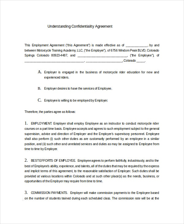 Understanding confidentiality agreement 9 free word for Secrecy agreement template