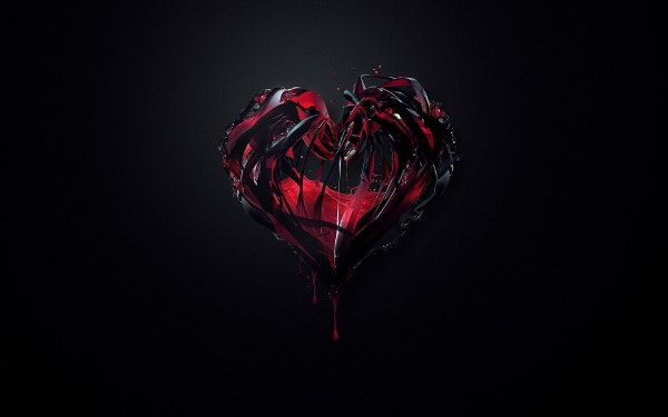Dark Red Heart Black Wallpaper Background