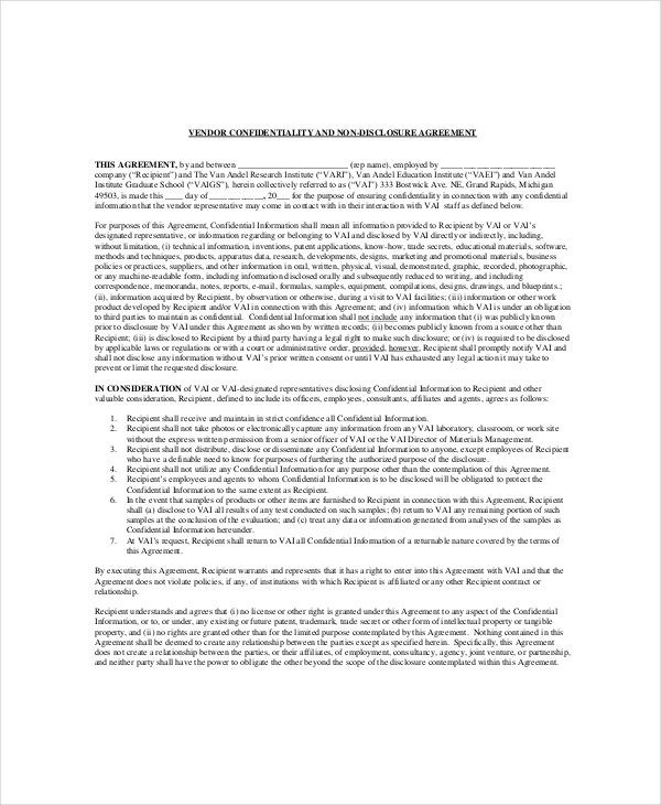 Vendor Confidentiality Agreement   Free Word Pdf Documents