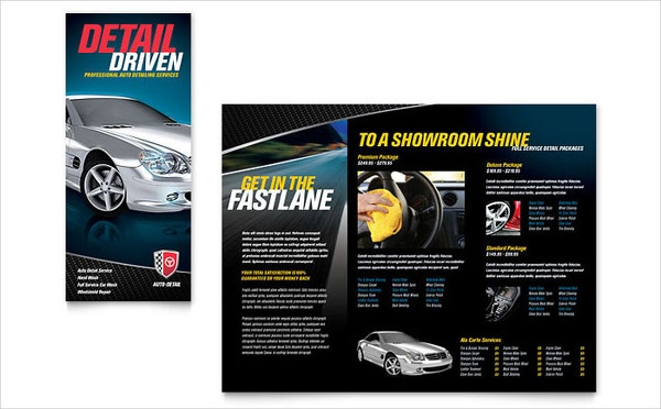 Auto Detailing Tri Fold Brochure Template