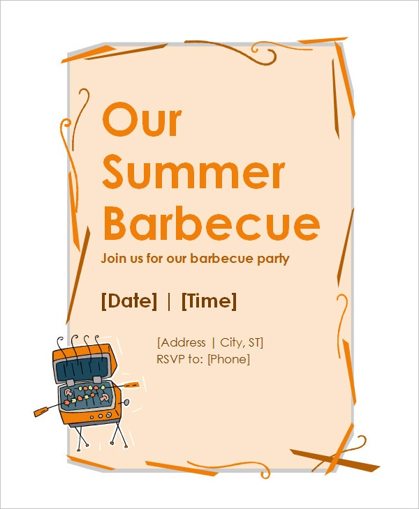 bbq party microsoft invitation template