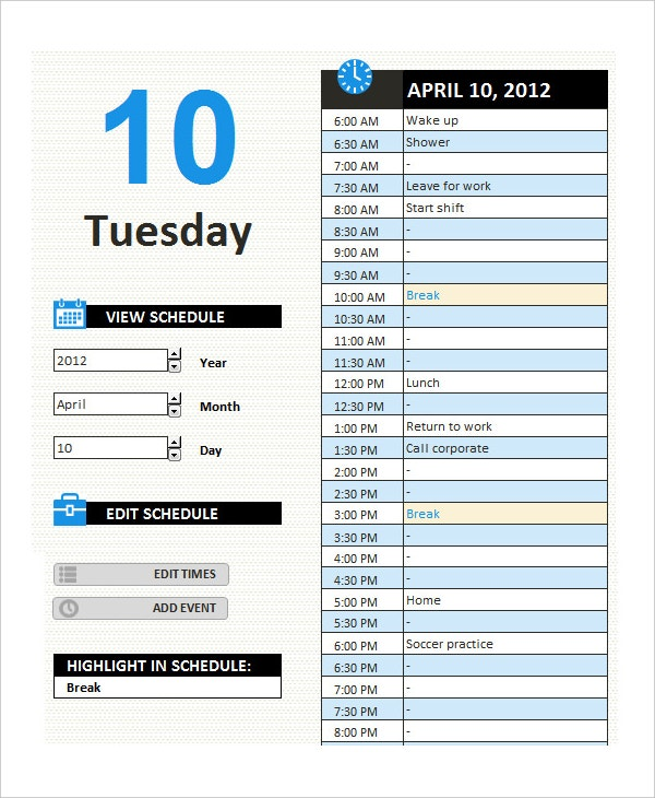 daily appointment microsoft calendar template