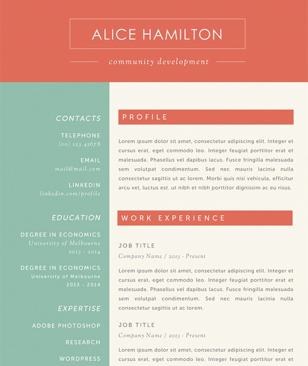 the alice microsoft word resume