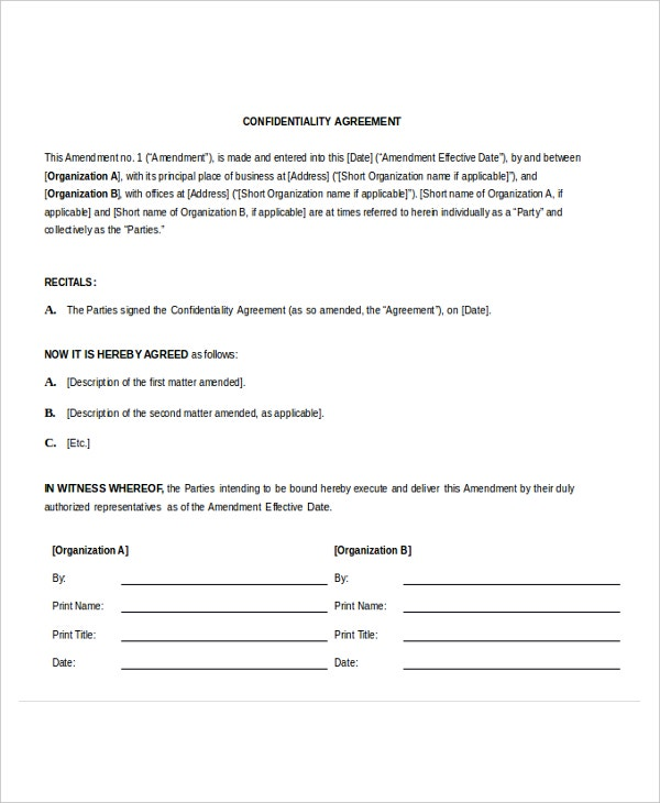 confidentiality agreement microsoft word template