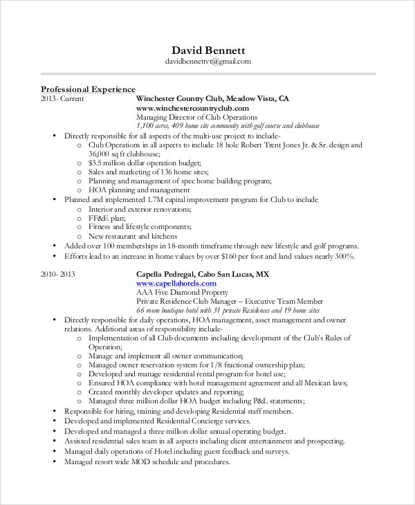 residential concierge resume