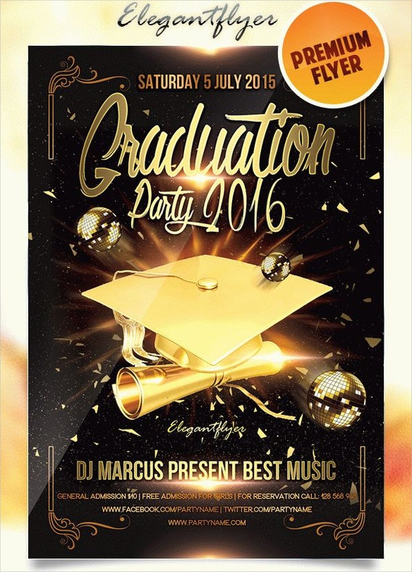 Graduation Event Party Flyer PSD Template