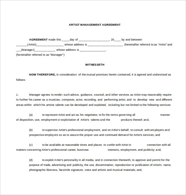 artist management microsoft contract word template