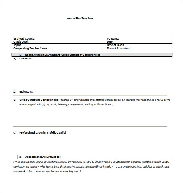 free extensive microsoft lesson plan template