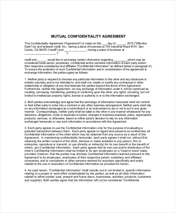 mutual volunteer confidentiality agreement