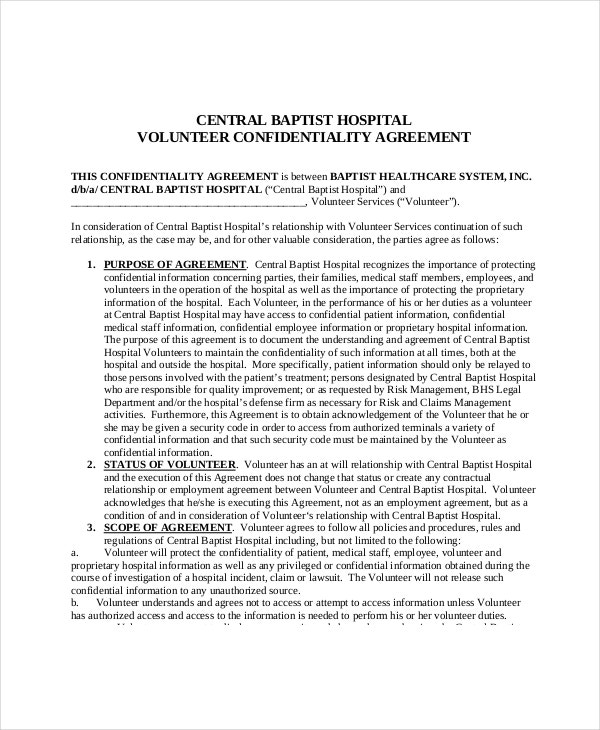 medical volunteer confidentiality agreement1