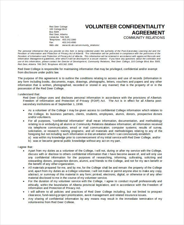 generic volunteer confidentiality agreement