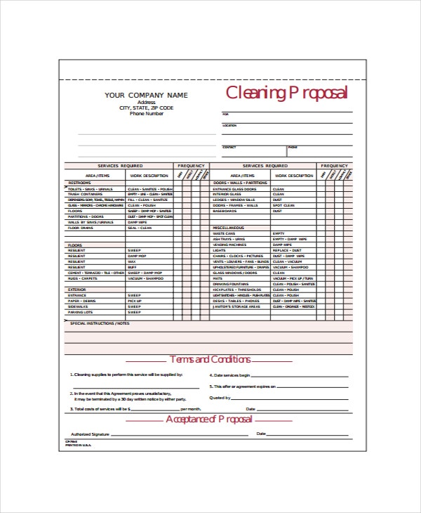 picture about Free Printable Cleaning Estimate Forms called 15+ Cleansing Proposal Templates - Term, PDF, Apple Web pages