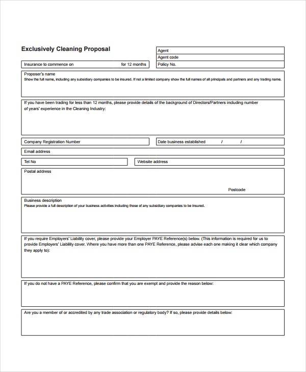 Company Exclusively Cleaning Proposal