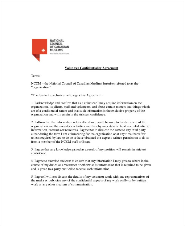 volunteer confidentiality agreement terms